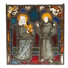 Antique+German+Stained+Leaded+Glass+Panel+Religious+Friar+and+Woman