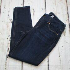 Seven7 Womens Size 16 Mid Rise Tummyless Skinny Jeans Dark Wash Distress Blue
