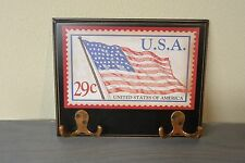 American USA Flag 29 Cent Stamp Black Wood Wooden Wall Plaque Key Hooks Hangers
