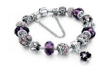 18K Gold Plated Purple Crystal CZ Charm Bracelet Made with Swarovski Element