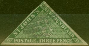 Newfoundland 1860 3d Dp Green SG11 Fine Used