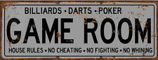 Game Room House Rules Metal Street Sign, Billiards, Poker, Darts, Gaming