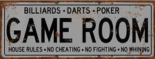 Game Room House Rules Metal Street Sign, Billiards, Poker, Darts, Gaming