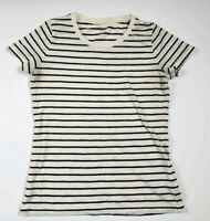 Mossimo Supply Co. Womens Top Size Large L Black White Striped Short Sleeve