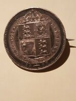 ➡➡1887 PERFECT GREAT BRITAIN VICTORIA GOLD JUBILEE SHILLING SILVER BROOCH CDGG
