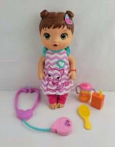 Baby Alive BETTER NOW BAILEY Brunette Cat Shirt Stethoscope Sippy Cup Juice Box