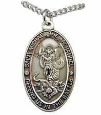 "Sterling Silver Pendant St Michael Protection Medal 1 1/16"" on a Steel Chain"
