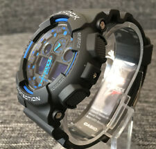 Casio G SHOCK GA-100-1A2ER Black & Blue Analogico & Digitale WR 200M Nuovo di Zecca