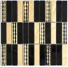 Mosaïque marbre pierre naturelle rectangle couteau or noir 40-STN79_f |10plaques