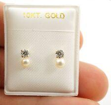 10K GOLD TODDLER LITTLE GIRL Screw Back FAUX PEARL 3mm Earrings New W/Tags