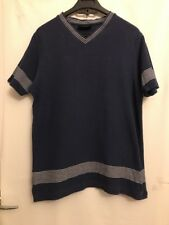 Blue White Striped Faded Top Next Size Small Short Sleeved V Neck Cotton Tshirt