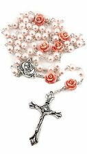 Catholic Pink Pearl Beads Rosary Our Rose Necklace Holy Soil Medal Cross 19""