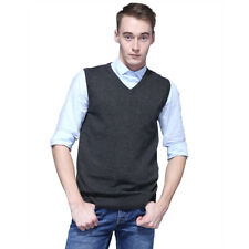 Men's Sweater Knitted Vest Warm V-Neck Sleeveless Pullover Tops Shirt M-2XL