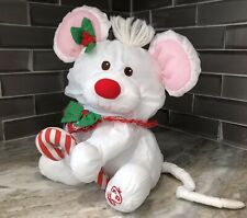 Vintage 1987 Fisher Price White CHRISTMAS MOUSE Puffalumps Plush Toy Doll #8036
