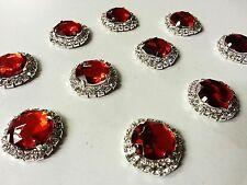 MT72R- 10pc 22mm RED Crystal Diamante Rhinestone Wedding Topper Buckle Button