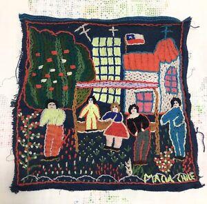 RARE Vintage Macul Chile PRIMITIVE FOLK ART Embroidered Artwork Tapestry Textile