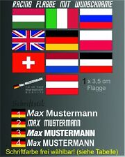 1x Namen Aufkleber Wunsch Flagge Name Moped Kart Helm Motorrad Fahrrad Rally KFZ