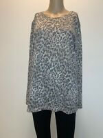 Chico's Women Animal Print XL Top Blouse Size 3 Long Sleeves #T202