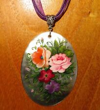 Lilac Red Pink Flowers signed Gift Russian Hand painted Shell Pendant Zhostovo