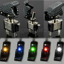 12V Heavy Duty Toggle Flick Switch CAR Dash LED Light SPST ON/OFF Flip Up Cover