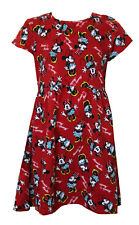 Licensed Disney Minnie Mouse Character Design Girl's Short Sleeves Day Dress Red
