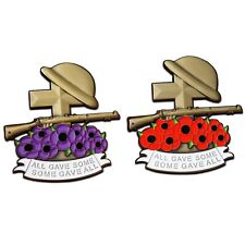 POPPY BADGE set 2x PIN HELMET RIFLE BOOTS BIG SIZE 6x6cm PURPLE & RED BADGES
