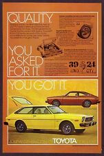 1976 Vintage Toyota Corolla SR-5 SR5 Sport Coupe Liftback Car Photo Print Ad