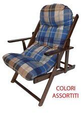 Sdraio Salotto imbottita legno faggio braccioli pieghevole col.noce vari colori