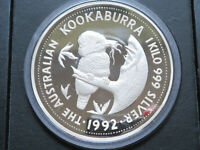 Australia.. 1992 1 kilo - Silver Kookaburra. (32+oz silver).. Proof in Case