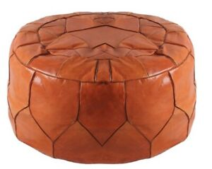 Pouf Leather Moroccan Ottoman Footstool Pouffe Handmade Genuine Hassock Round Po
