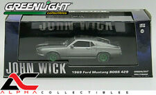 """CHASE GREENLIGHT 86540 1:43 1969 FORD MUSTANG BOSS 429 GRAY """"JOHN WICK"""" W/CASE"""