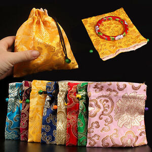 Wholesale10pcs Chinese Handmade Vintage Silk Jewerly Pouches Gift Bags 4.7*5.5IN