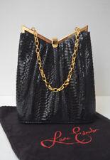 LEONA EDMISTON Black 1950s Retro Style Snake Embossed Faux Leather Purse Handbag