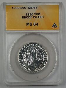 1936 Rhode Island Commemorative Silver Half Dollar ANACS MS 64 (PL) Proof Like