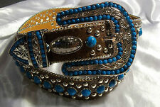 WOMENS WESTERN LEATHER BLING BELT W/ SILVER TONE STUDS & FAUX TURQUOISE SIZE XL