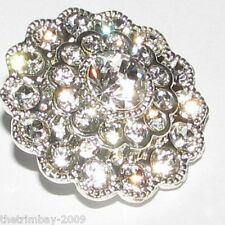 Silver Crystal Clear Diamante Buttons 20 mm For ,Wedding, Bridal, Costume,Craft