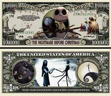 TIM BURTON / L'ETRANGE NOEL de Mr JACK ! BILLET COLLECTOR 1 MILLION DOLLAR US !