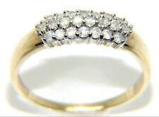 Ladies 9ct yellow gold, 22 stoned diamond cluster ring. Size = Q – 2.1g