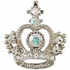 CLEAR CRYSTAL RHODIUM PLATED CROWN BROOCH PIN MADE WITH SWAROVSKI ELEMENTS