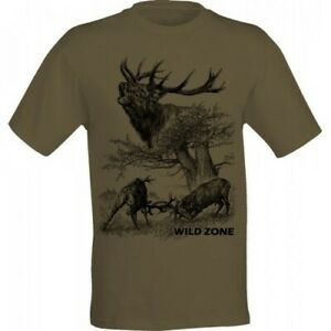 T-Shirt Wild Zone with Fighting Deers Print