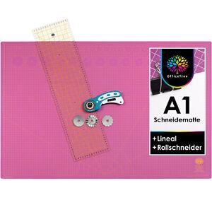 OfficeTree Set Schneidematte A1 Pink + Rollschneider + Lineal 60x16cm