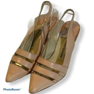Manolo Blahnik Vintage Size 6 / 36.5 Pink Strappy Sandals Slingback Heels