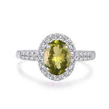 1,40 Karat 585er Weißgold Natürlicher Peridot EGL zertifizierter Diamant ring