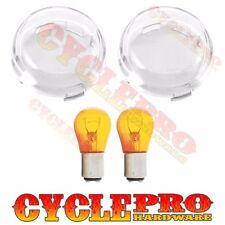 2 Clear Turn Signal Lens Amber Bulb Kit for 2000-16 Harley Bullet Dome Style