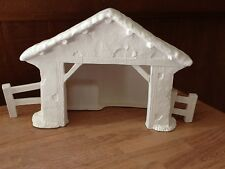C-0921 Christmas Large Nativity Manger / Stable with side fences Bisque U Paint