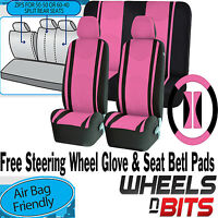 Universal Pink Car Seat Covers Steering Glove Cover Shoulder Pads 3D Mesh Cloth