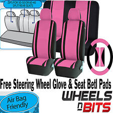PINK Mesh Cloth Car Seat Cover Steering Glove fit VW Golf MK2 MK3 MK4 MK5 MK6