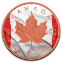2019 Canadian Flag Maple Leaf 1oz .9999 Rose Gold Gilded Silver Coin - RCM
