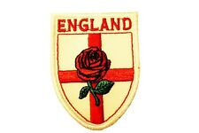 England Country Flag Logo With Red Rose ,White Backgr. Iron-On Patch Crest Badge