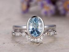 2Ct Oval Cut Aqua Blue Topaz Simlnt Diamond  Engagement Ring Set Silver Gold Fns